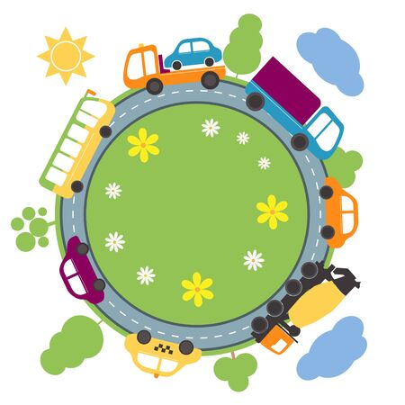 Summer landscape with round road and cars. Vector illustration.