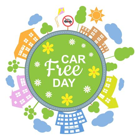 Car free day concept. Illustration