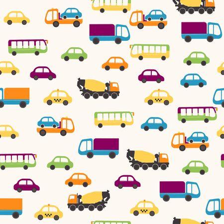 Cartoon automotive seamless pattern Ilustração