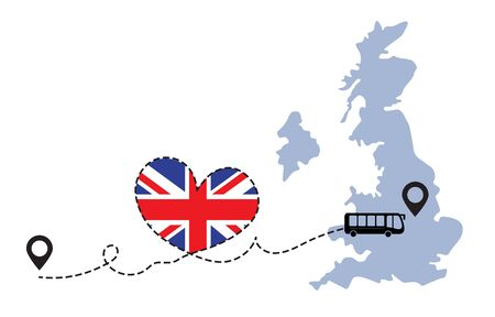 Travel to Great Britain by bus concept. I love Great Britain vector illustration Illustration