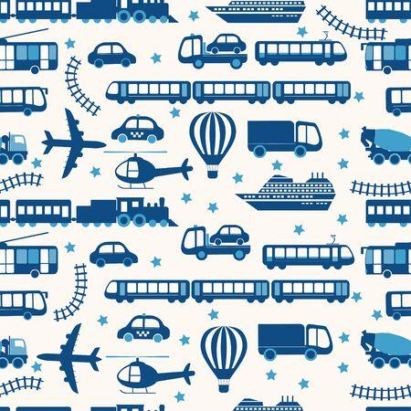 Cartoon transport seamless pattern