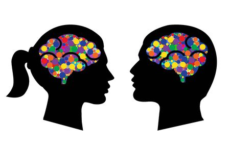 Man and woman head with abstract brains