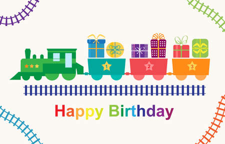 Happy birthday train with gifts Illustration