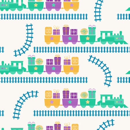 Seamless pattern with train and gift boxes