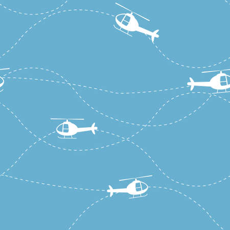 Helicopters vector seamless pattern Ilustração