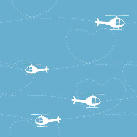 Helicopters vector seamless pattern with heart