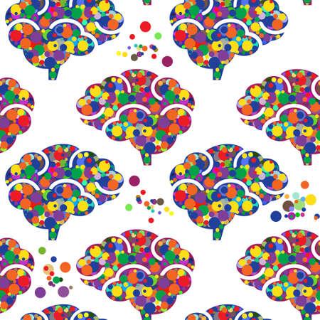Seamless brain icon vector pattern Ilustração