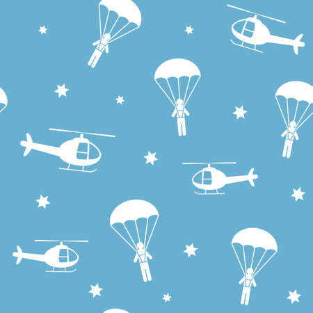 Cartoon helicopters and parachutists 向量圖像