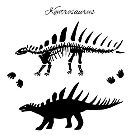 Kentrosaurus silhouette,footprints and skeleton
