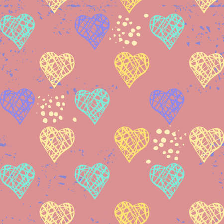 Vector seamless pattern with hearts and dots