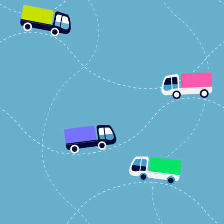 Seamless flat cartoon vector pattern with trucks