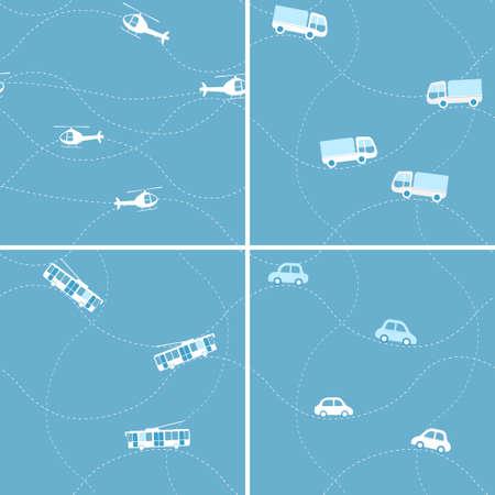Seamless flat cartoon vector pattern set with cars