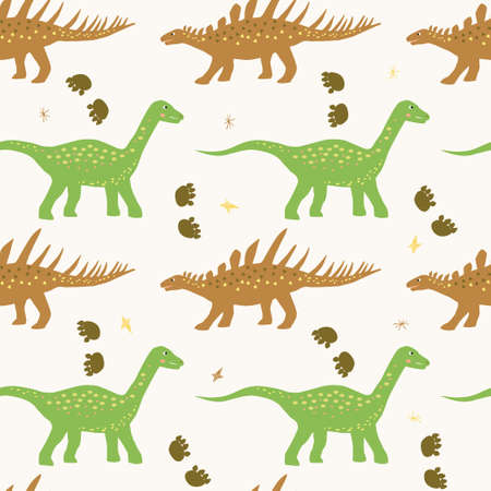 Funny colorful vector seamless pattern with dino Illustration