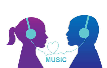 Couple enjoys listening to music Love music