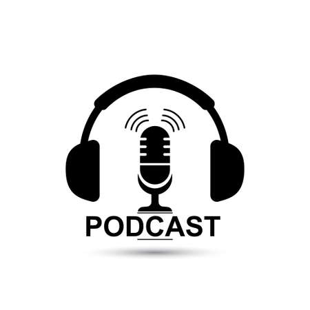 Podcast concept, vector icon. Headphones and micro