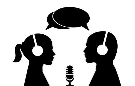 A man and a woman in headphones with microphone Illustration