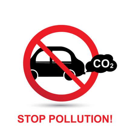 Stop pollution concept. No car exhaust vector