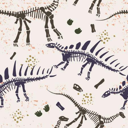 Dino skeleton silhouette bone seamless pattern vector Illustration