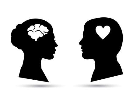 Man and woman black icon. Heart or brain Illustration