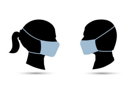 Silhouette of a couple wearing face mask Illustration