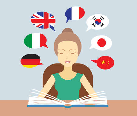 Learn different languages concept flat vector illustration