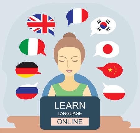 Learn different languages online concept. Language school