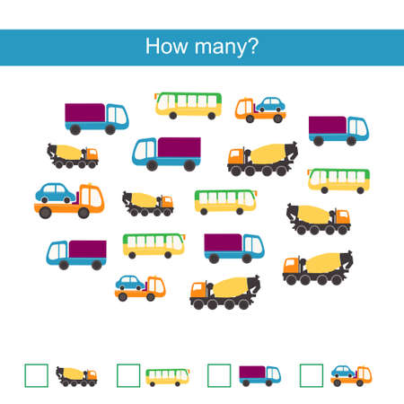 Count how many cars and write result Illustration