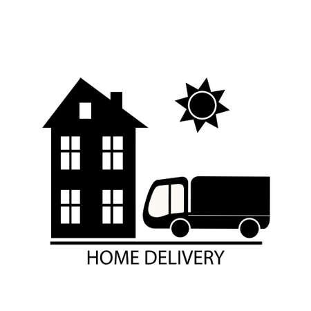 Home delivery concept, black icon vector illustration Illustration