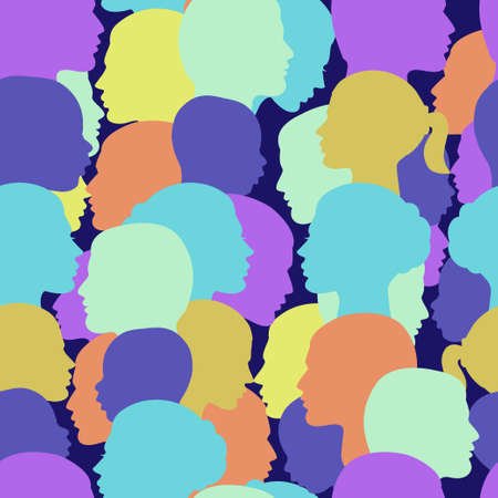 Seamless vector pattern crowd of people profile Illustration