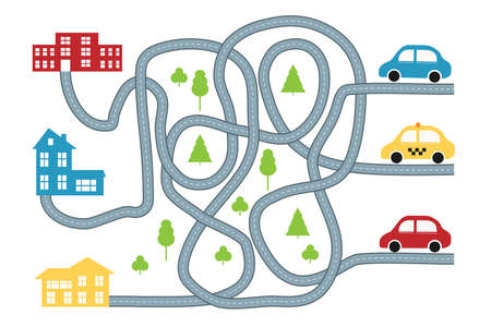 Find the way game for children with cars Illustration