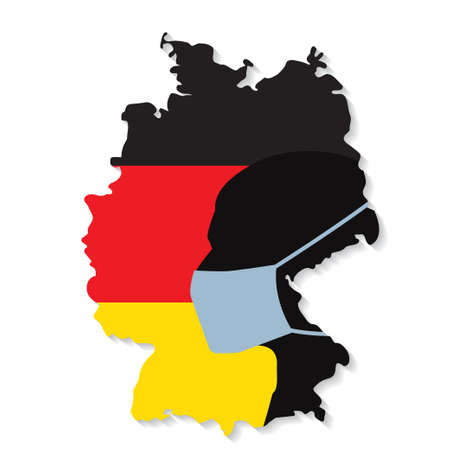 Silhoutte of a man in mask on Germany flag.