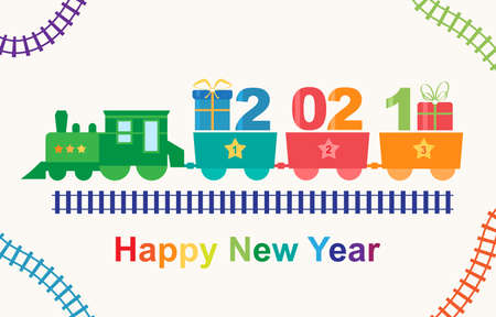 Happy New Year 2021 train with gifts vector