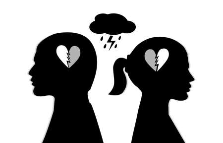 Silhouette of a couple with broken heart Illustration