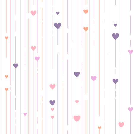 Stripped geometric seamless pattern with hearts Illustration