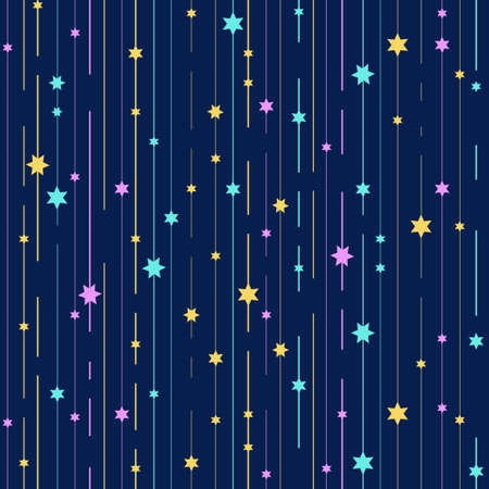 Seamless vector background with stars on blue background.