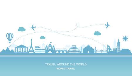 Travel around the world vector flat illustration Illustration