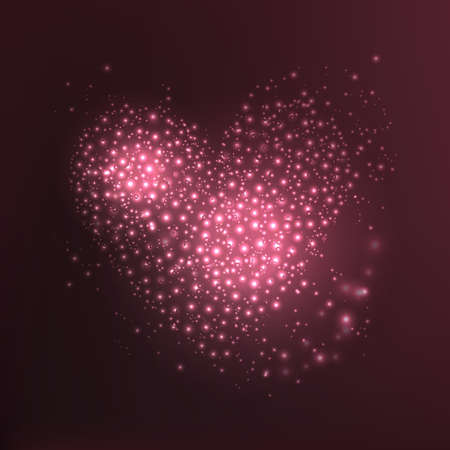 Abstract vector heart icon silhouette with circles