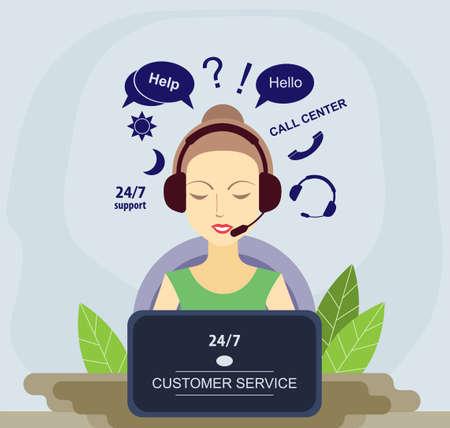 Call center flat vector illustration. Customer service