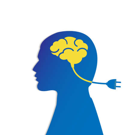 Man head with brain and plug, charging.