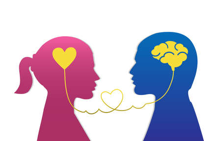 Man and woman icon. Silhouette of heart or brain