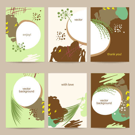 Set of abstract flower colorful cards templates. Illustration