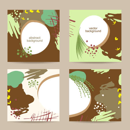 Set of abstract floral colorful square templates Illustration