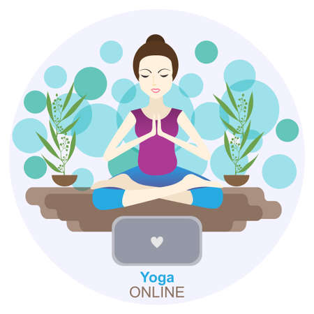 Yoga online concept vector illustration. Stay home