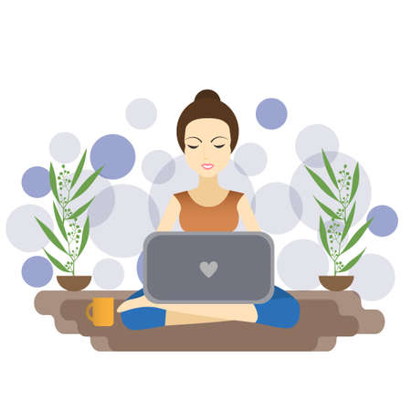 A girl sitting and work on laptop