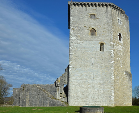gascony: Tower and ruins of medieval castle Moncade in Orthez, Constructed in 1242 by the Gaston VII, Viscount of Barn and owned In the 14th centuryby Gaston Phbus, 1368 and 1375. Bearn, Aquitaine, France Stock Photo