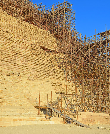 djoser: restoration of Egyptian Pharaoh Djoser th 27 th century first Pyramid of BC is Situated in the necropolis of Saqqara, Stock Photo