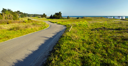 vendee: This arrow countryside road in Yeu Island Separates the Atlantic Ocean coastline with green and sand dunes with fisher houses and forest vegetation at background at left France Vendee Pay loire Stock Photo