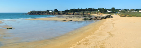 vendee: Panorama of sandy beach in Yeu Island viewed Towards Pointe des Vieilles close to La Croix France Vendee Pay agglomeration of the Loire
