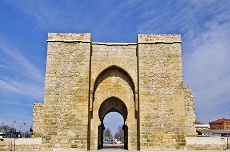 castile: Puerta de Toledo Gate in Ciudad Real relicts of Arab History of 14th century Castile La Mancha Spain