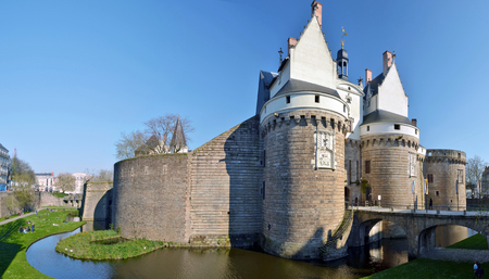 View at Castle of the Dukes of Brittany in Nantes Entrance in the right hand and the walk down from park place fortification walls
